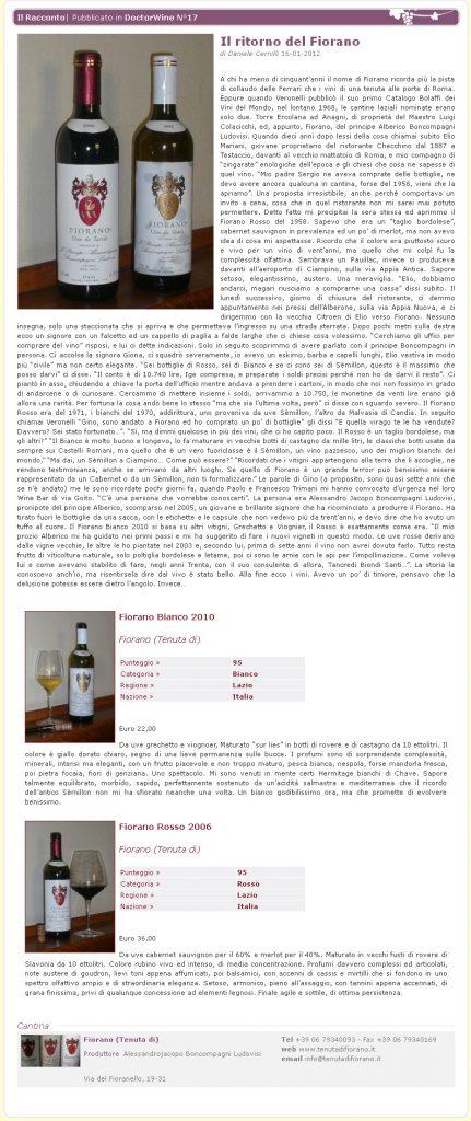 Tenuta di Fiorano, rassegna stampa 2012 - Doctor Wine