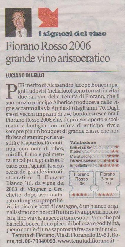 Tenuta di Fiorano, rassegna stampa 2012 - La Repubblica