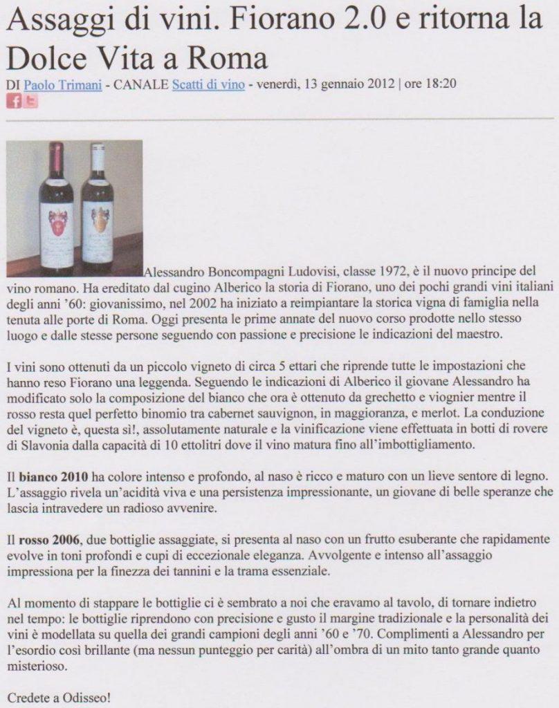 Tenuta di Fiorano, rassegna stampa 2012 - Scatti di vino