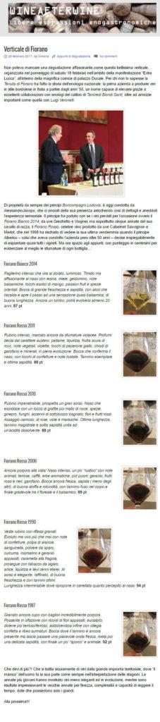 Fiorano rassegna Stampa 2017 - Wine after Wine