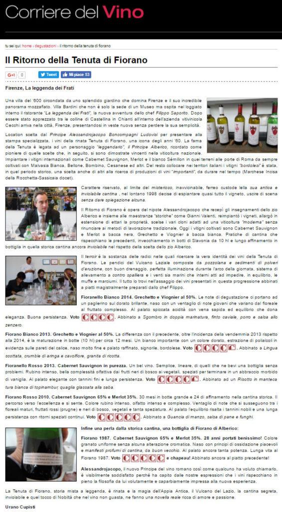 Fiorano rassegna Stampa 2015 - Corriere del Vino