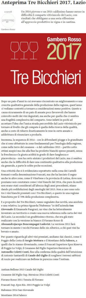 Fiorano rassegna Stampa 2017 - Gambero Rosso