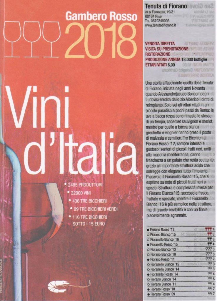 Tre Bicchieri 2018 del Gambero Rosso all'annata 2012