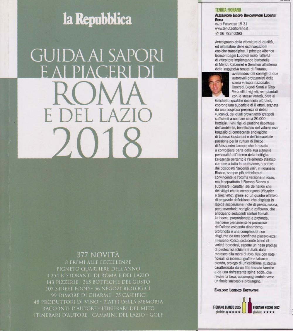 Premio Miglior Vino 2018 al Fiorano Bianco 2015 dagli esperti de La Repubblica