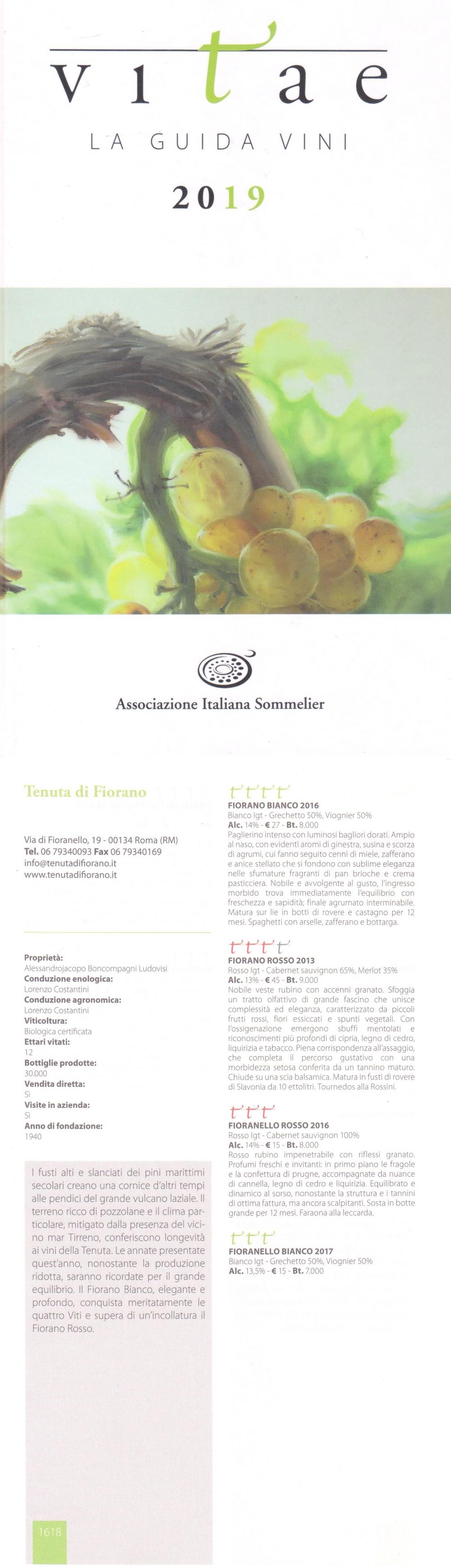 TENUTA DI FIORANO - VITAE 2019 - GUIDA ASSOCIAZIONE ITALIANA SOMMELIER