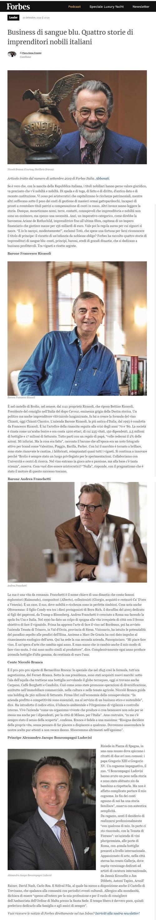 Business di sangue blu. Quattro storie di imprenditori nobili italiani.