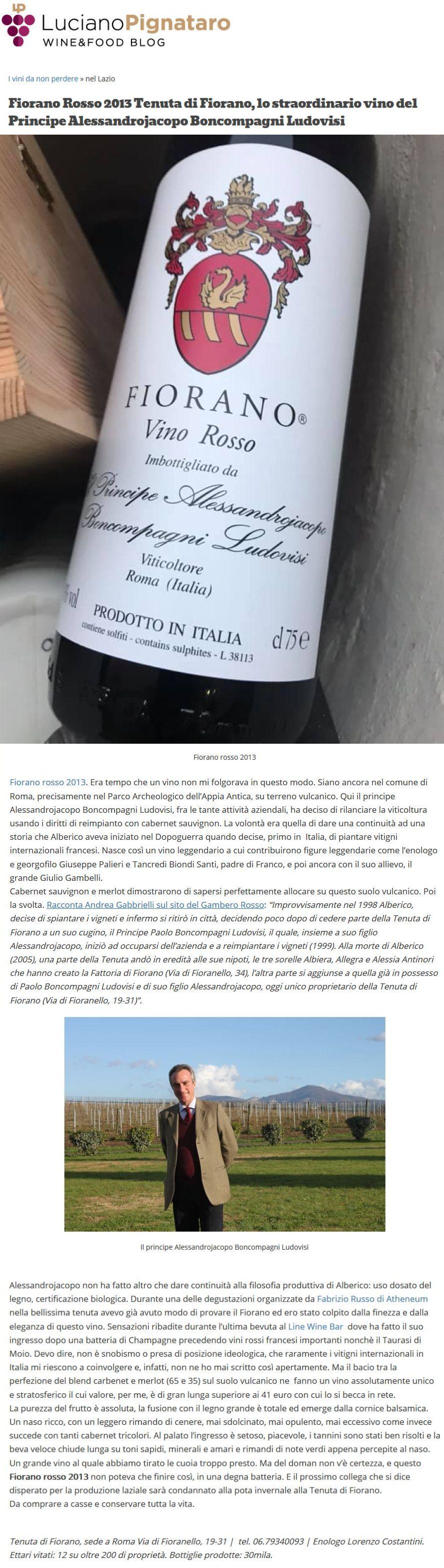 Fiorano Rosso 2013 Tenuta di Fiorano, lo straordinario vino del Principe Alessandrojacopo Boncompagni Ludovisi