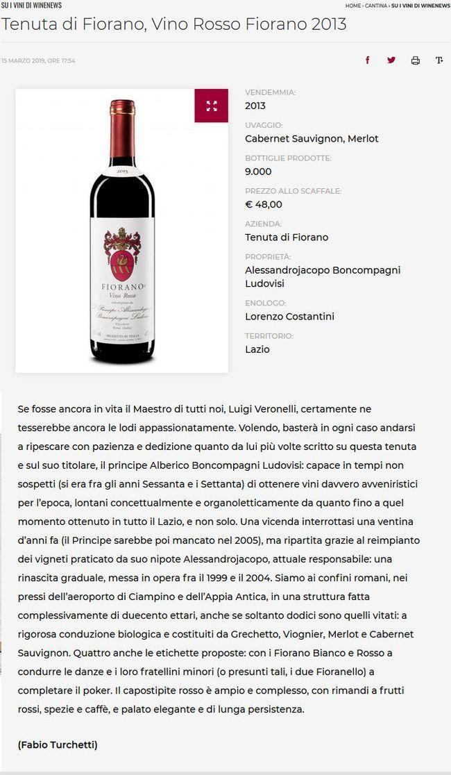 Tenuta di Fiorano, Vino Rosso Fiorano 2013 - I vini di WineNews