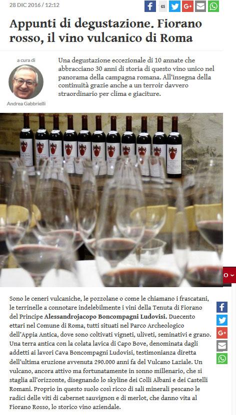 Fiorano Rassegna Stampa - Gambero Rosso 28-12-2016