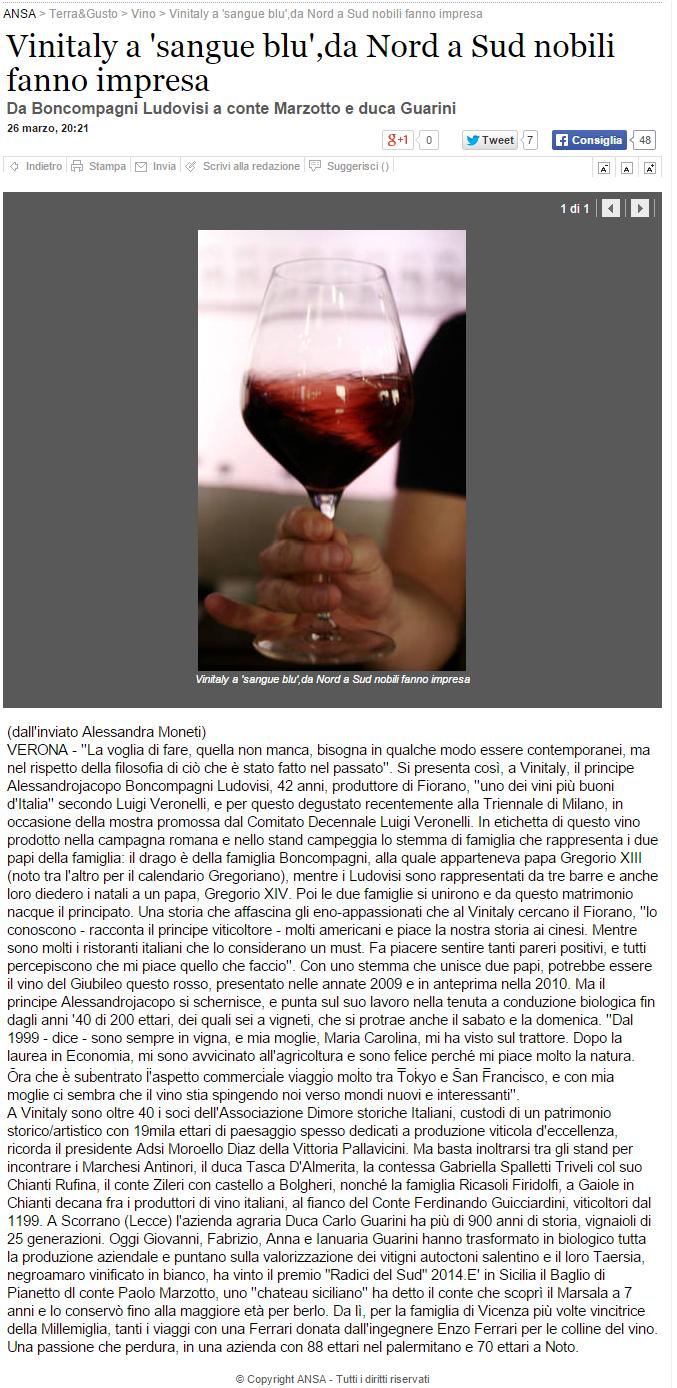 Tenuta di Fiorano Rassegna stampa 2015 - ANSA