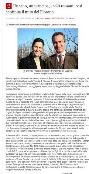 Tenuta di Fiorano Rassegna stampa 2015 - Cronache di Gusto