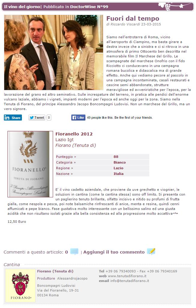 Tenuta di Fiorano Rassegna stampa 2015 - Dr Wine