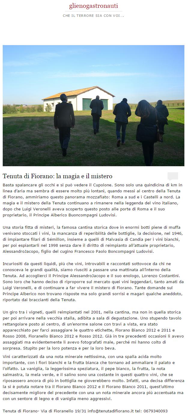 Tenuta di Fiorano Rassegna stampa 2014 - Gli enogastronauti