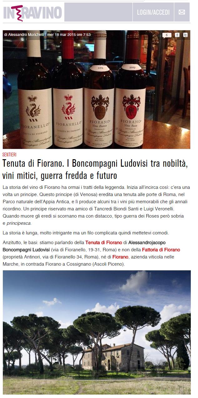 Tenuta di Fiorano Rassegna stampa 2015 - Intravino