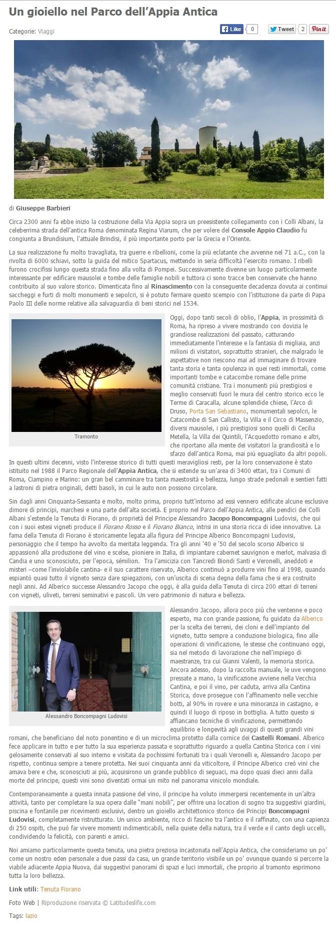 Tenuta di Fiorano Rassegna stampa 2015 - Latitudelife