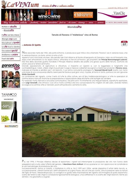 Tenuta di Fiorano Rassegna stampa 2015 - LAVINIUM