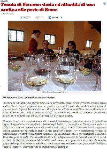 Tenuta di Fiorano Rassegna stampa 2014 - Wineblog