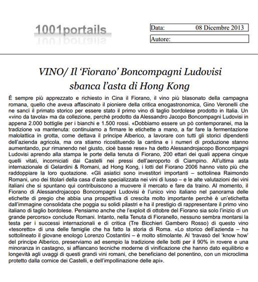 Tenuta di Fiorano, rassegna stampa 2013 - 1001 Portails
