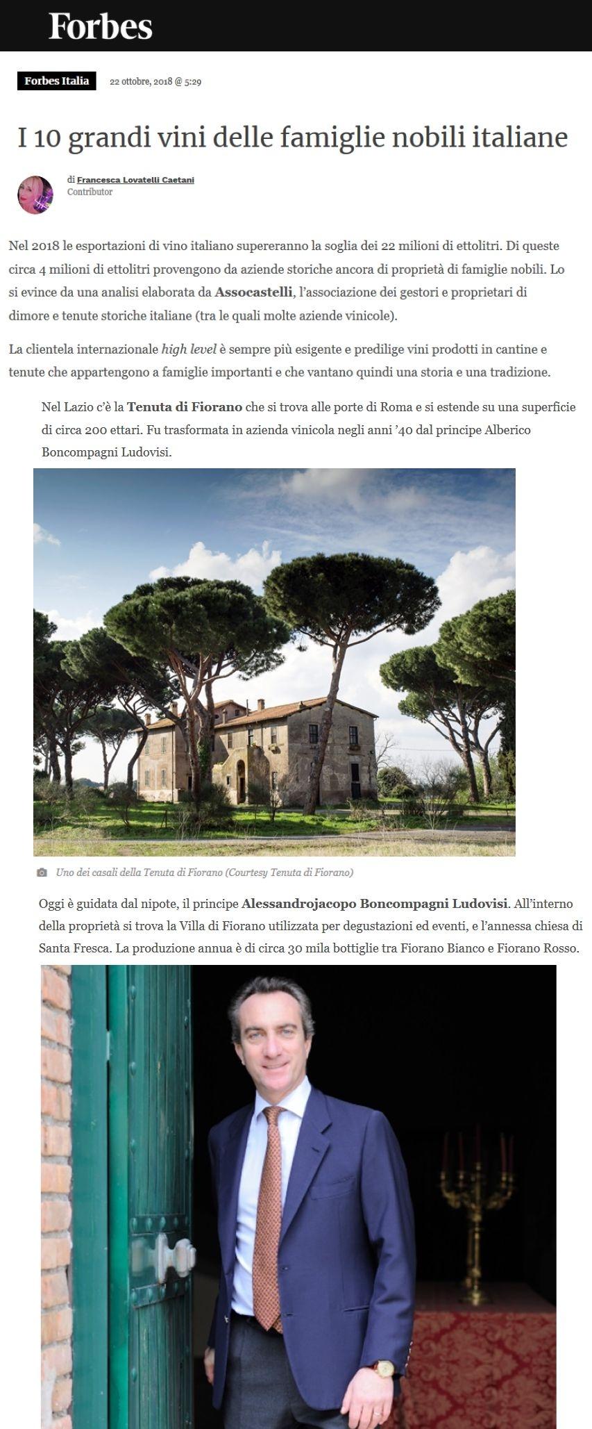 I dieci grandi vini delle famiglie nobili italiane