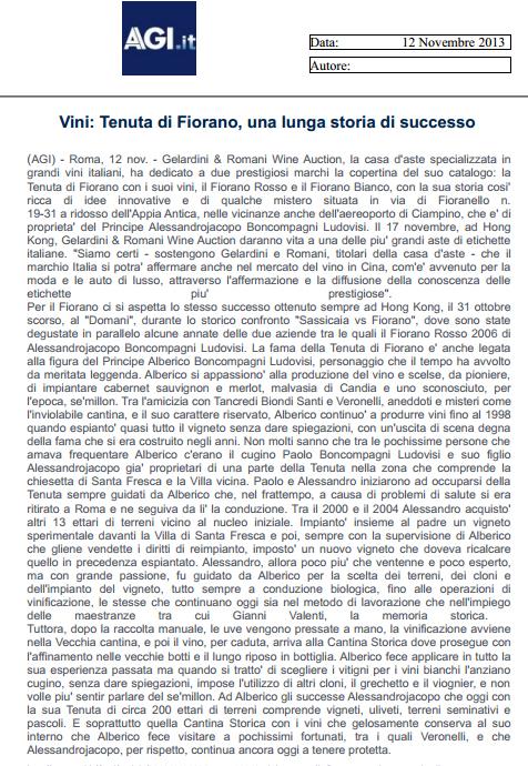Tenuta di Fiorano Rassegna stampa 2013 - AGI.IT