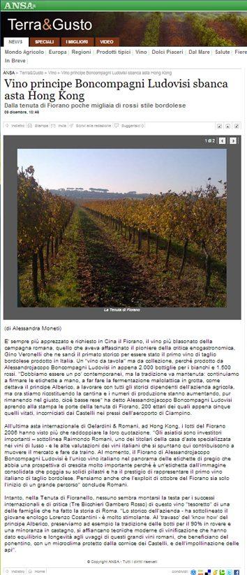Tenuta di Fiorano, rassegna stampa 2013 - ANSA