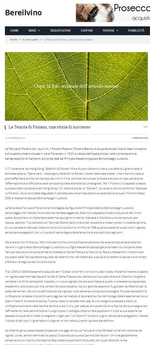 Tenuta di Fiorano, rassegna stampa 2013 - Bere il Vino