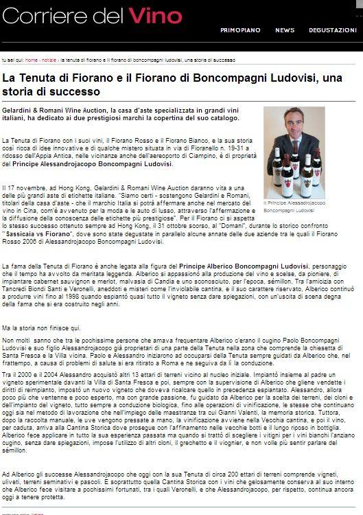 Tenuta di Fiorano Rassegna stampa 2013 - Corriere del Vino
