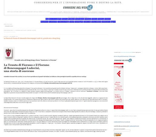 Tenuta di Fiorano Rassegna stampa 2013 - Corriere del Web