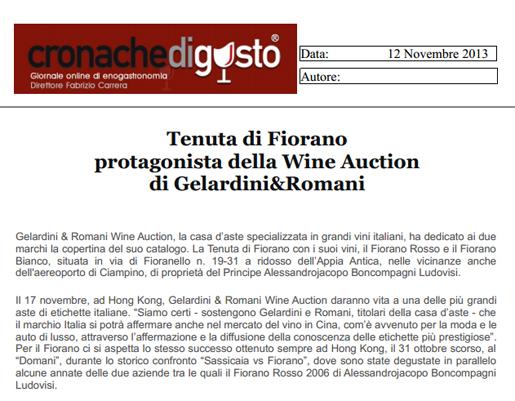 Tenuta di Fiorano Rassegna stampa 2013 - Cronache di gusto