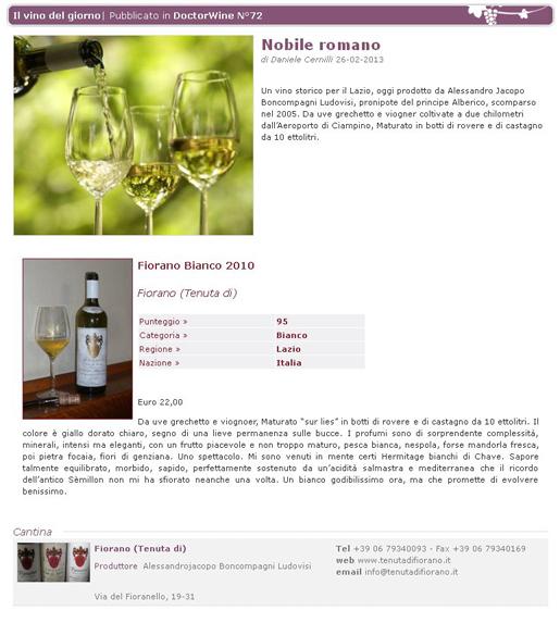 Tenuta di Fiorano Rassegna stampa 2013 - Doctor Wine