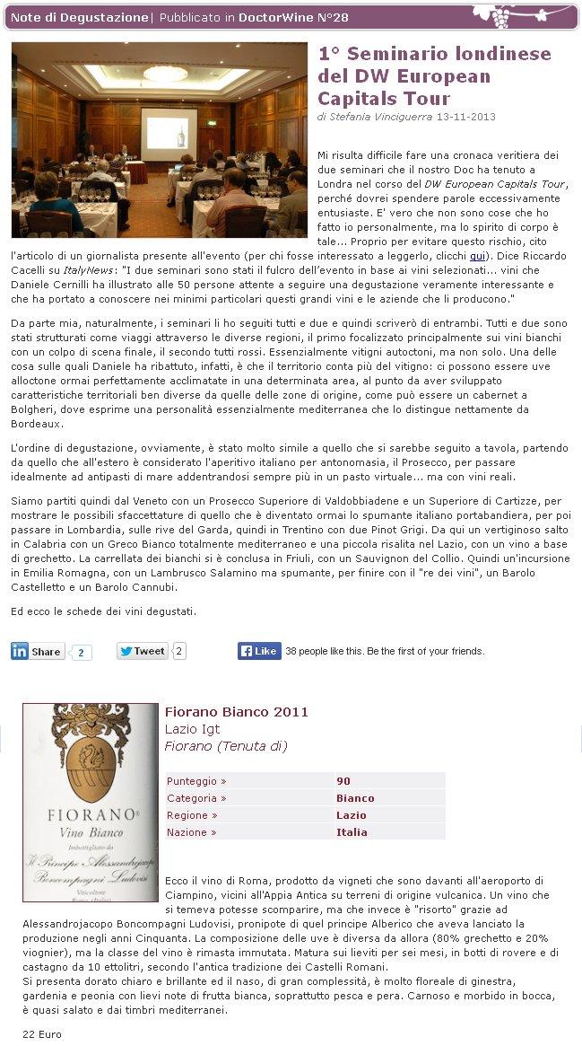 Tenuta di Fiorano, rassegna stampa 2013 - Doctor Wine