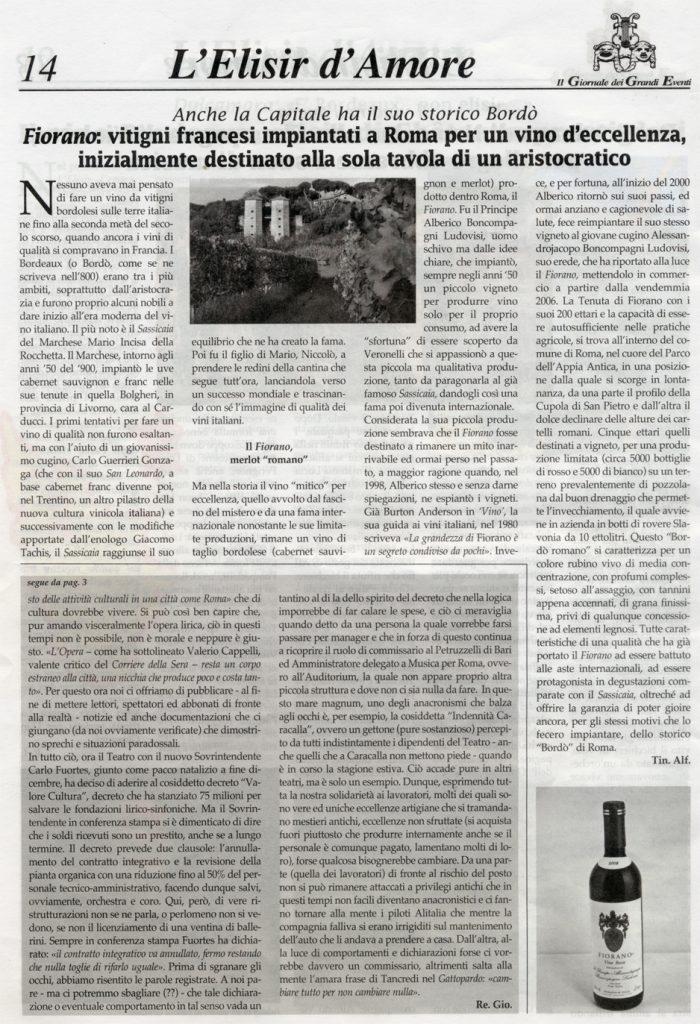 Tenuta di Fiorano Rassegna stampa 2014 - Giornale dei Grand Eventi