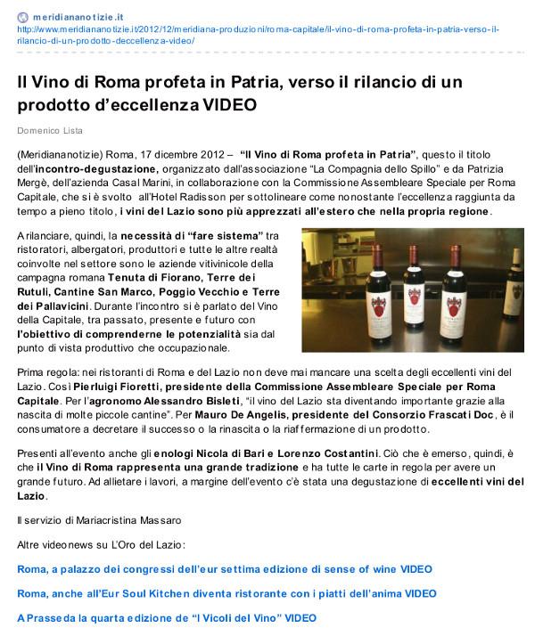 Tenuta di Fiorano, rassegna stampa 2012 - Meridiana Notize