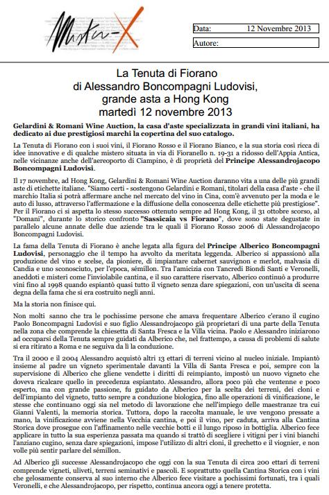 Tenuta di Fiorano Rassegna stampa 2013 - Miter X