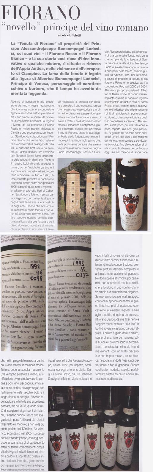 Tenuta di Fiorano Rassegna stampa 2013 - Oinos