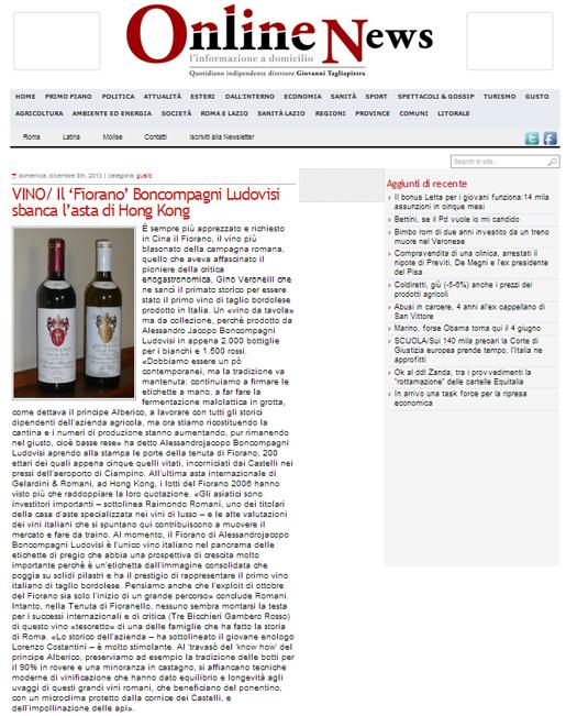 Tenuta di Fiorano, rassegna stampa 2013 - Online News
