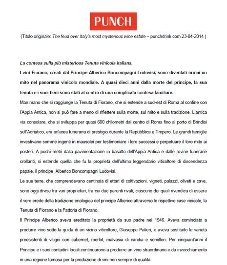 Tenuta di Fiorano Rassegna stampa 2014 - Punch