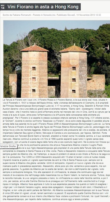 Tenuta di Fiorano, rassegna stampa 2013 - QB