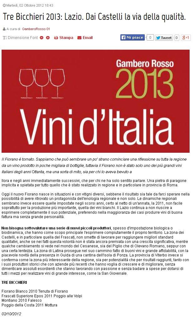 Tenuta di Fiorano, rassegna stampa 2012 - Gambero Rosso
