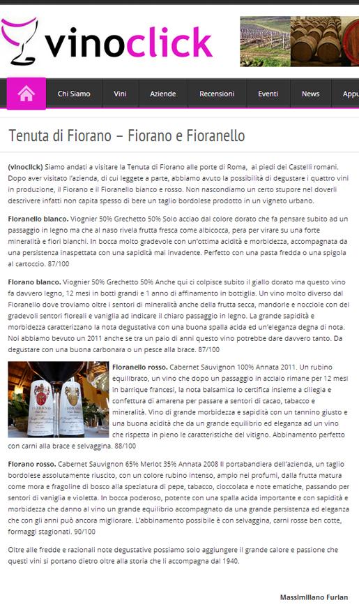 Tenuta di Fiorano Rassegna stampa 2014 - Vino Click