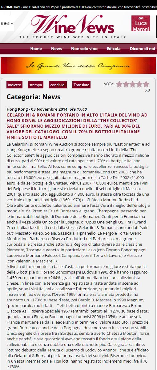 Tenuta di Fiorano Rassegna stampa 2014 - Wine News
