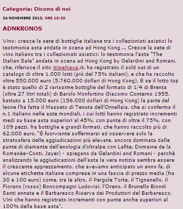 Tenuta di Fiorano, rassegna stampa 2013 - Wine News