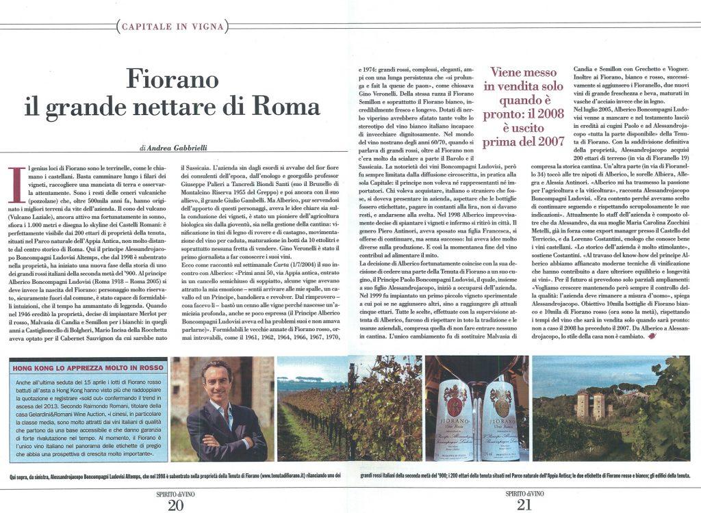 Tenuta di Fiorano Rassegna stampa 2014 - Spirito Di Vino